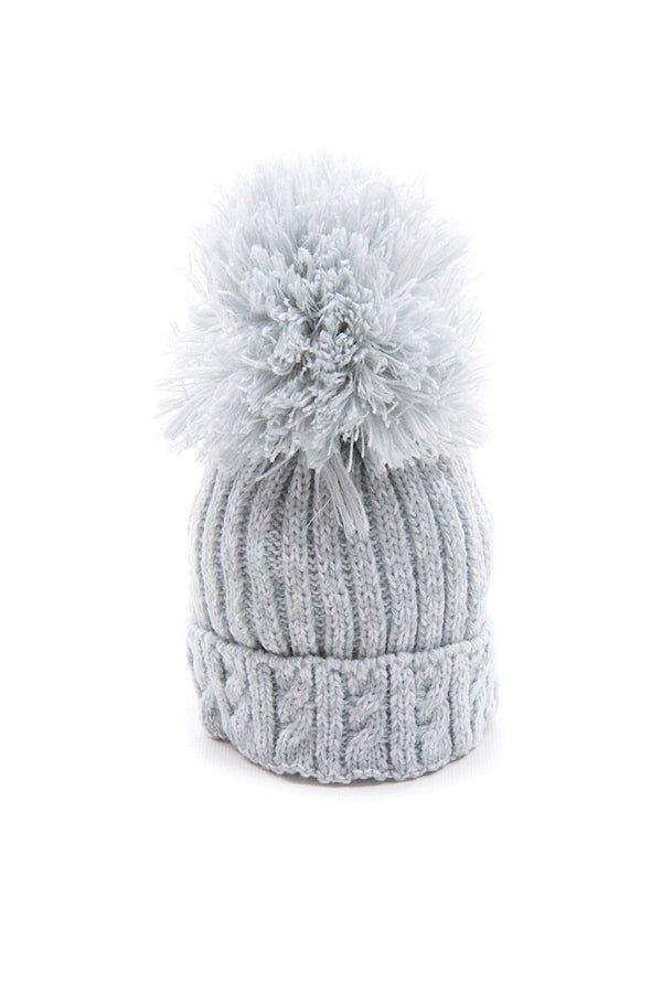 Grey Knitted Cable Pom Pom Hat