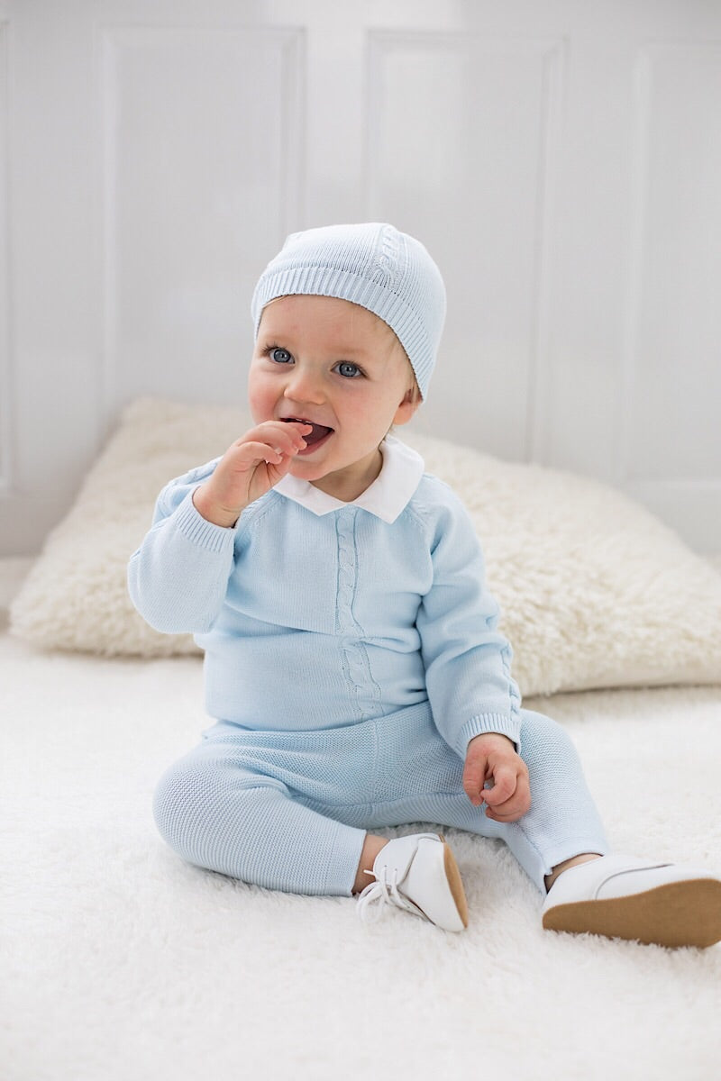 Emile Et Rose Blue Knitted Top And Pants With Hat