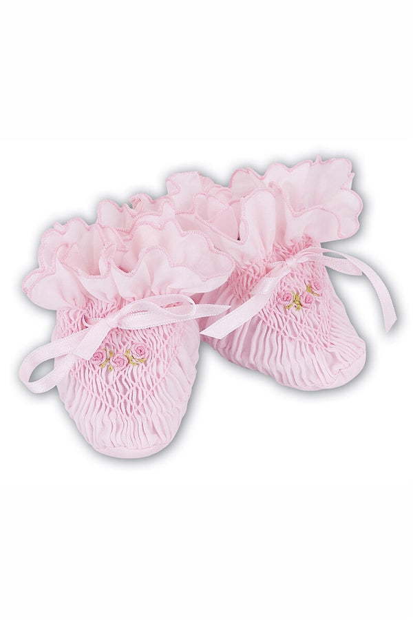Sarah Louise Pink Smocked Booties