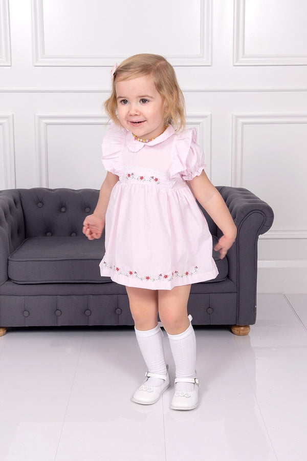 Pink Flower Embroidered Dress, Bloomers And Headband