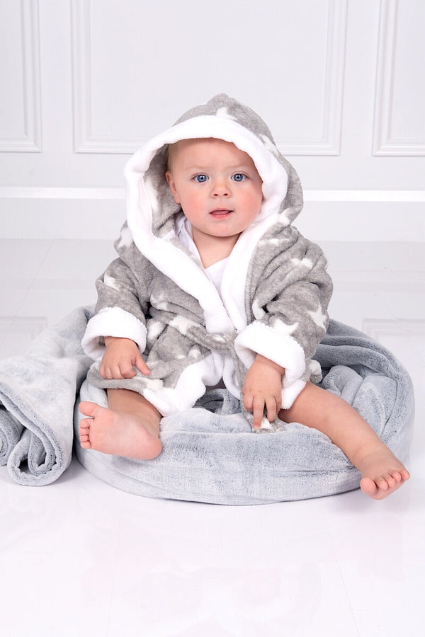 Grey And White Star Dressing Gown