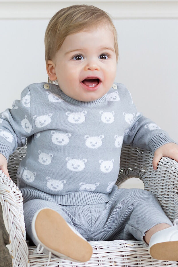 Grey Knit Bear Outfit And Hat