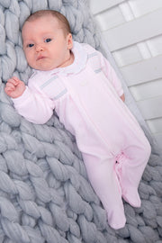 Pink Smocked Velour All In One