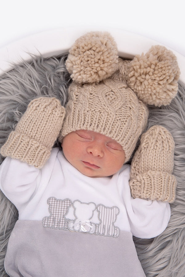 Beige Double Pom Pom Cable Hat With Mittens