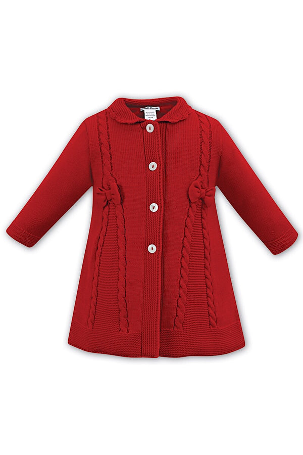 Sarah Louise Red Knitted Cable Coat