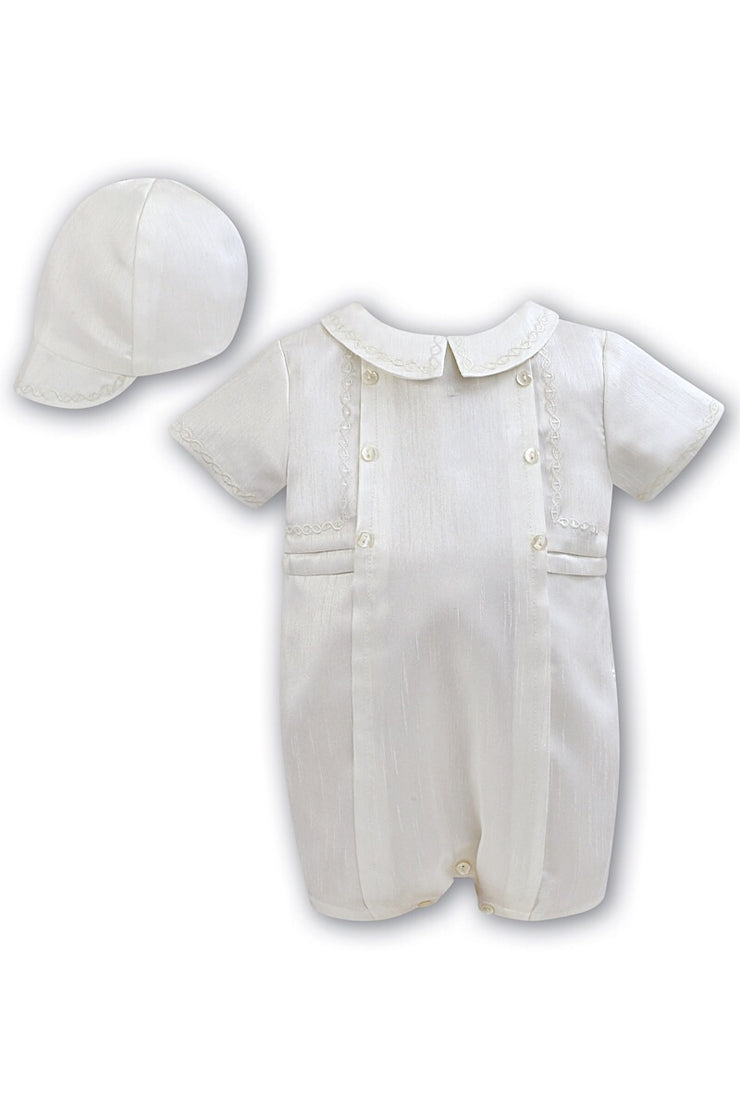 Sarah Louise Ivory Pleated Romper And Hat