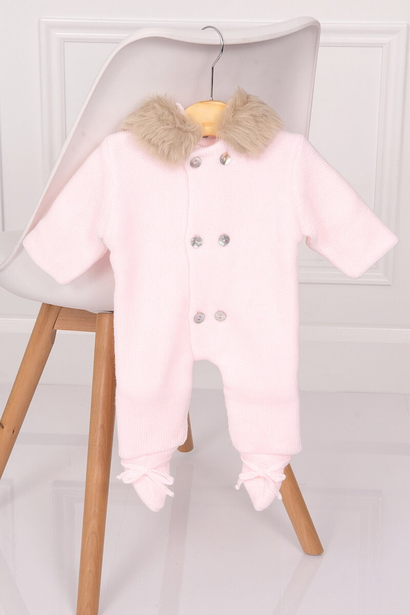 61fc77076dd4 Mebi Pink Knitted Pramsuit With Feet