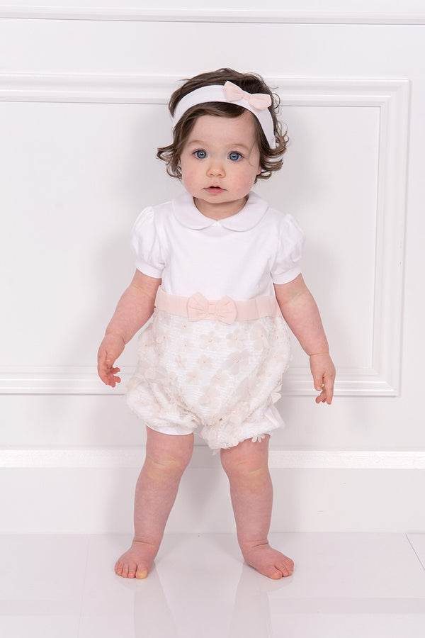 Mintini White And Pink Floral Romper With Hairband