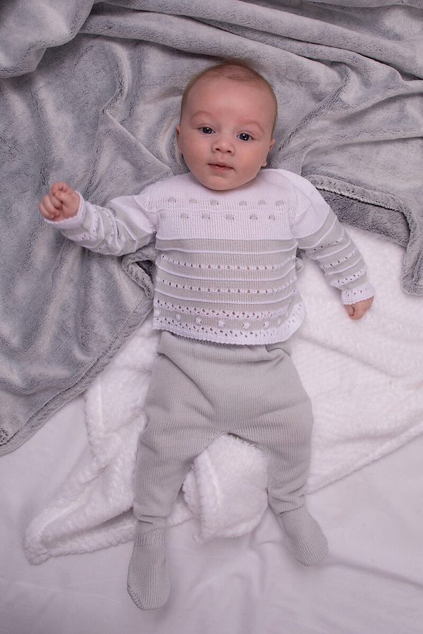 Jacob Matthews Grey And White Embossed Top And Pants