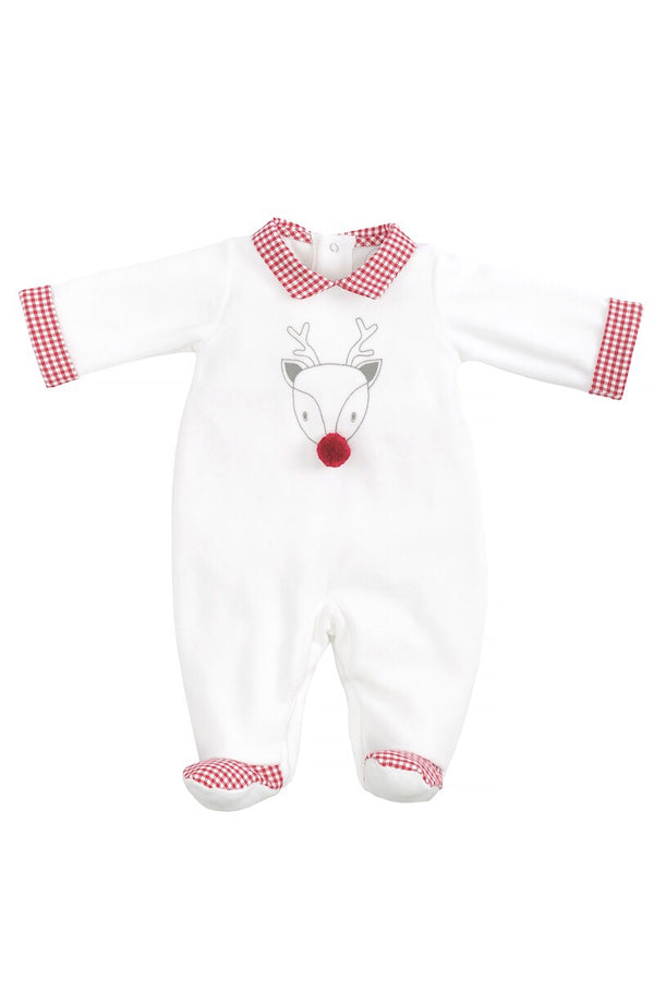 Laranjihna White Velour Reindeer All In One