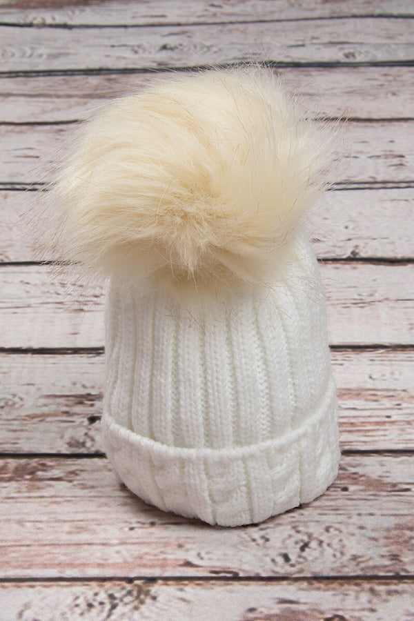 White Knitted Cable Hat With Cream Fur Pom Pom