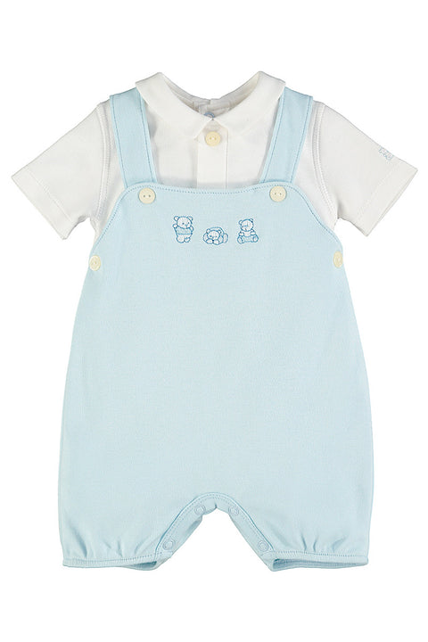 Bear Embroidered Bibshort Romper