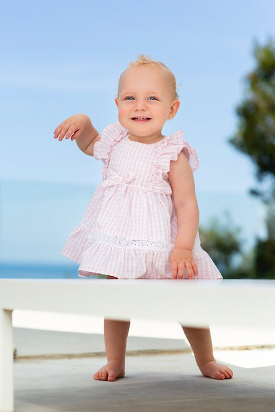 Tutto Piccolo Pink Laced Check Dress And Bloomers