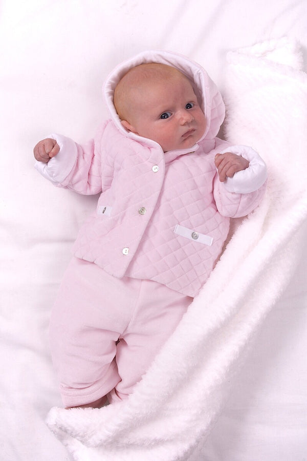 Babidu Pink Quilted Jacket And Pants