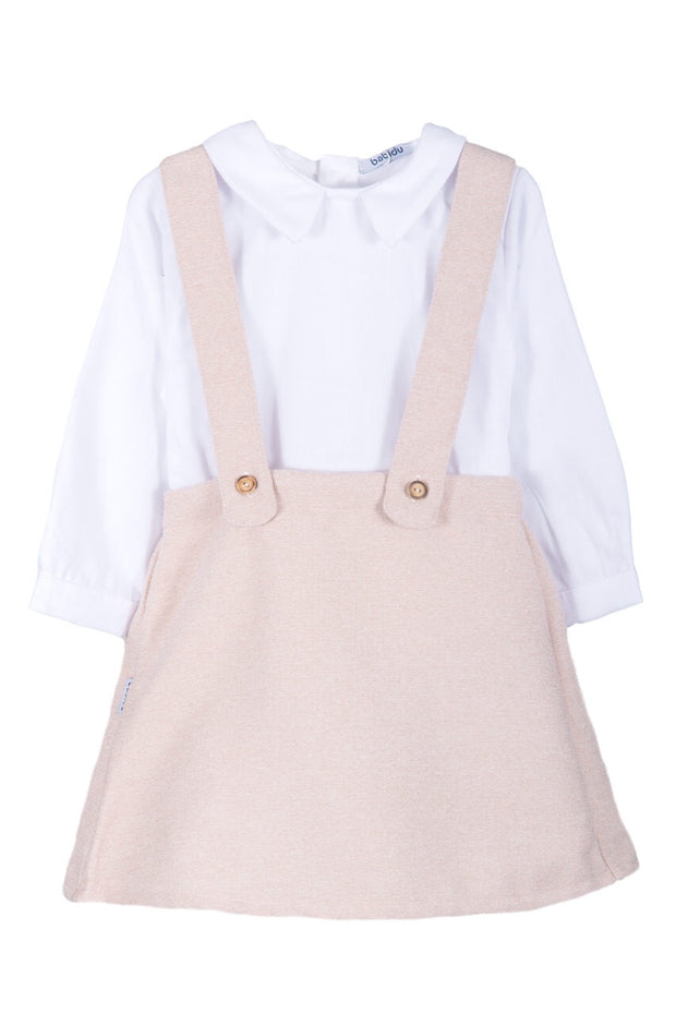White Top With Pink Braced Skirt