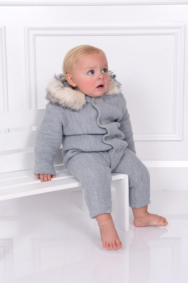 Mebi Grey Knitted Pramsuit