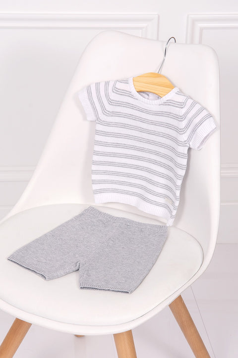 White And Grey Striped Knit Top And Pants