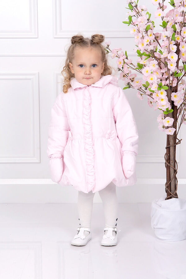 Emile Et Rose Pink Bow Jacket With Detachable Hood And Mittens