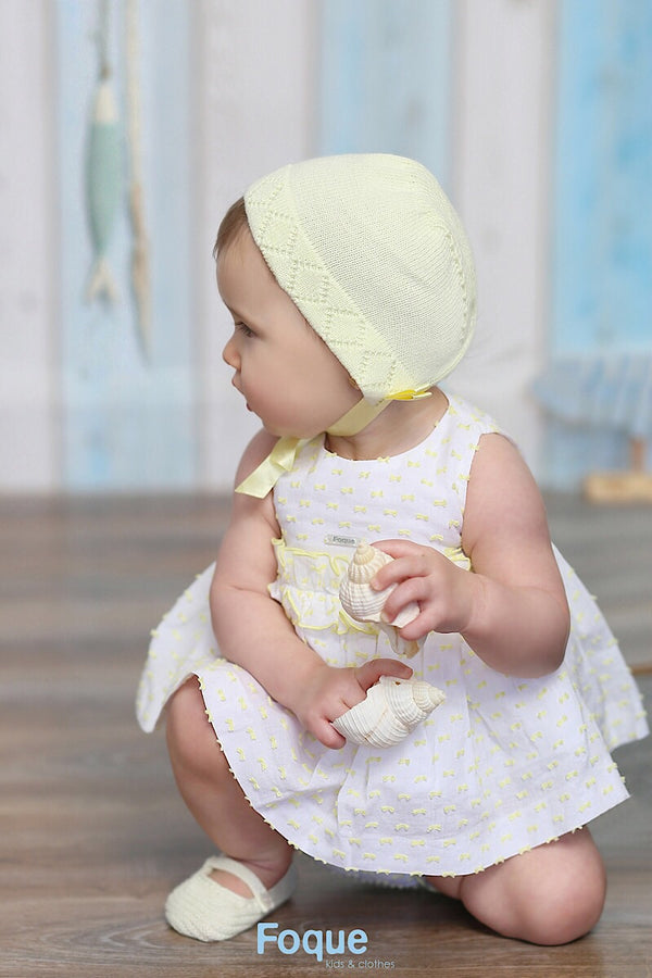 Foque Lemon Embossed Dress With Bloomers