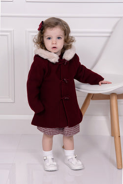 Granlei Knitted Burgundy Fur Hooded Coat