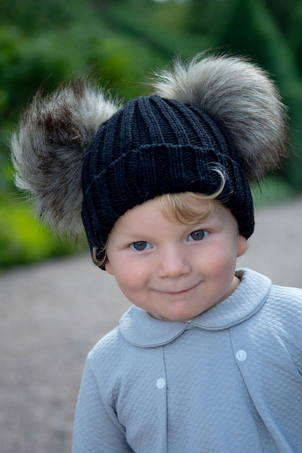 Black And Beige Double Fur Pom Pom Hat