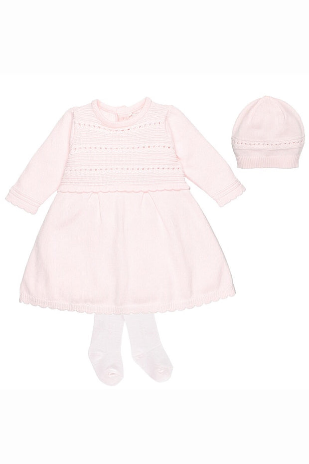 Pink Knitted Pointelle Dress Set