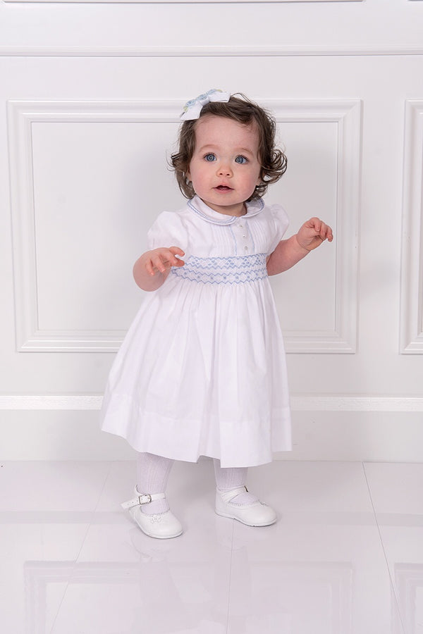 Sarah Louise White And Blue Smocked Dress