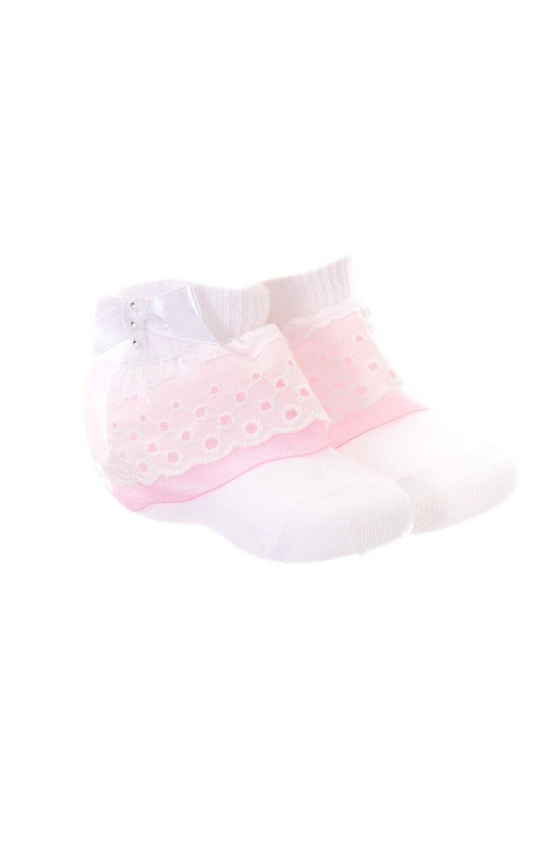 Pex White Diamante Detail Sock With Pink Frill