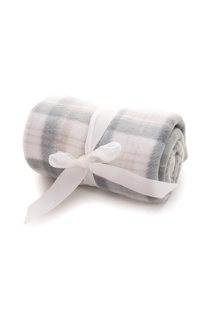 Grey And White Checked Fleece Blanket