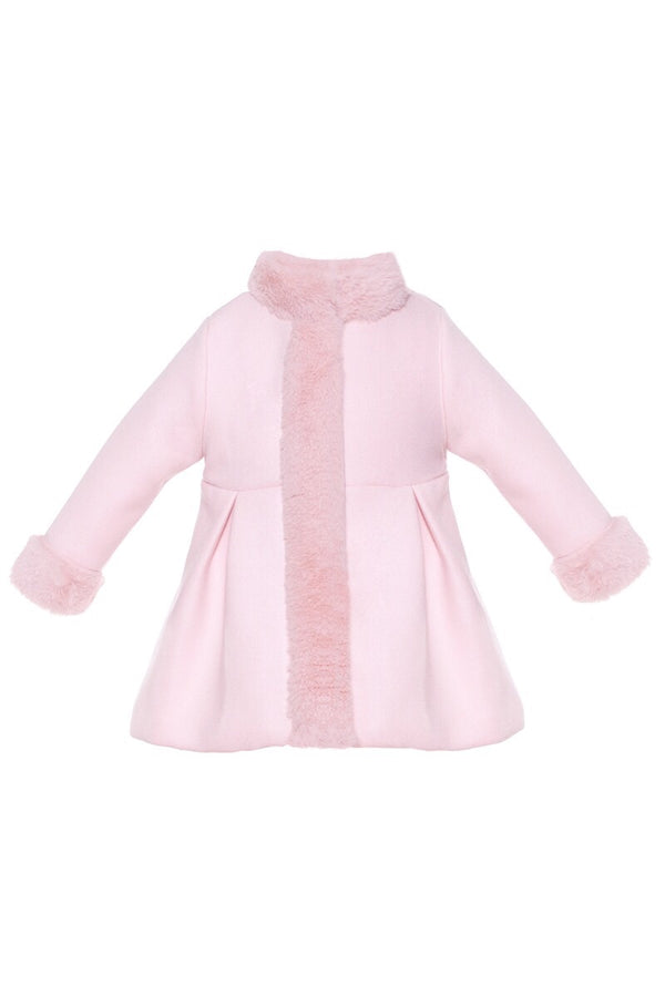 Patachou Soft Pink Coat With Fur Trims