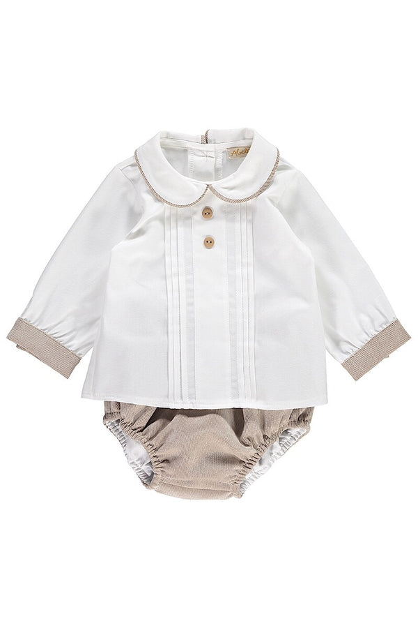 Abella White Pleated Shirt With Beige Pants