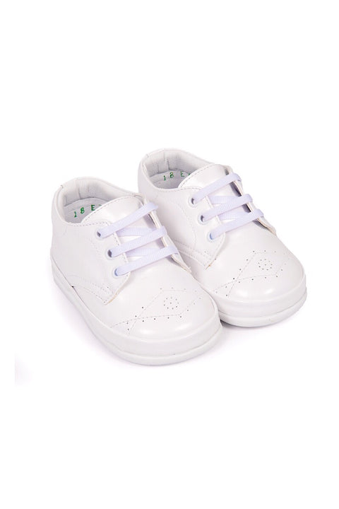 White Diamond Stitch Lace Up Shoes