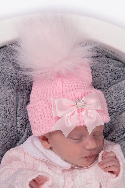 Pink Ribbed Bow Hat
