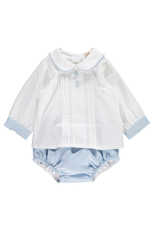 Abella White Pleated Shirt With Blue Pants