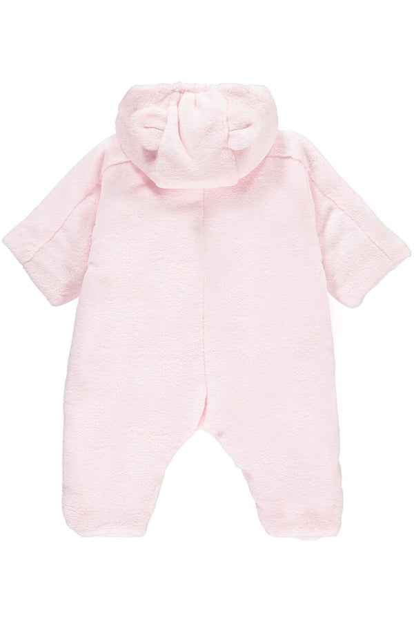 Emile Et Rose Pink Fleece Bunny Pramsuit With Hood