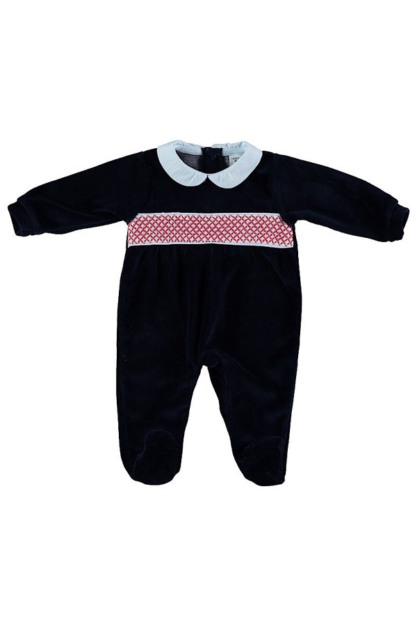 Babidu Navy Smocked Velour All In One