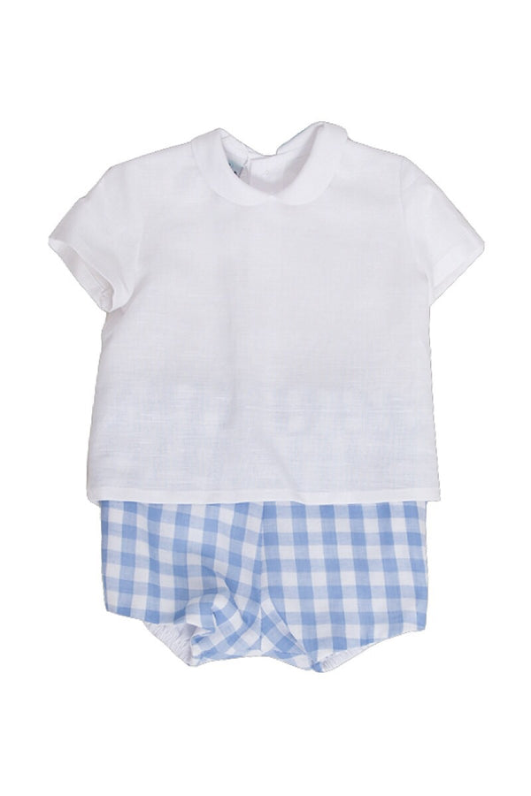 Pangasa Linen Collar Shirt With Checked Shorts