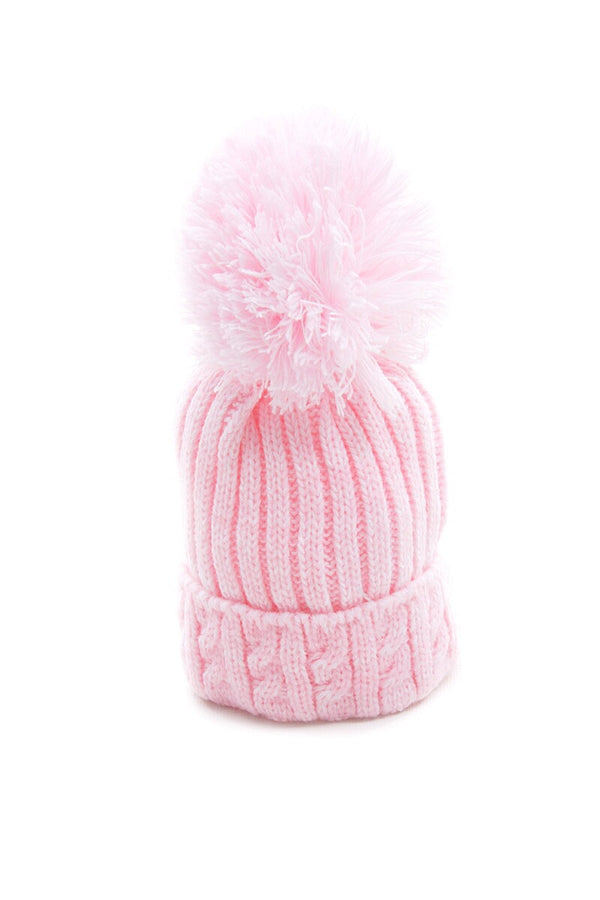 Pink Knitted Cable Pom Pom Hat