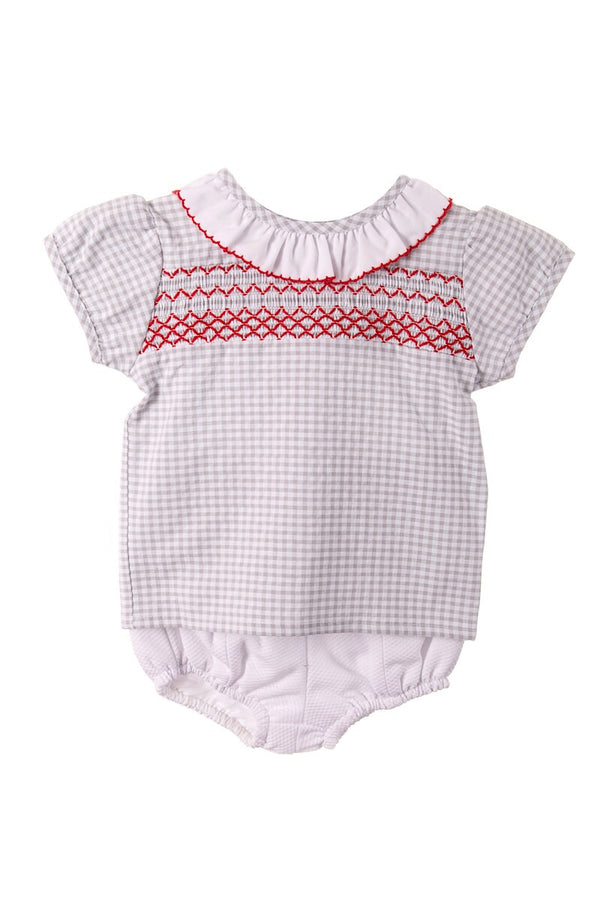 Sardon Grey Checked Smocked Frill Top And Button Design Shorts
