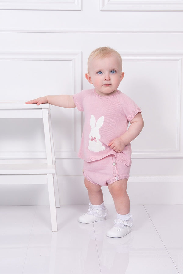 Dusky Pink Knit Bunny Top And Shorts