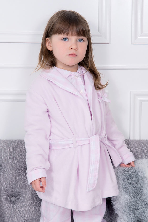 Pink Check Trim Dressing Gown