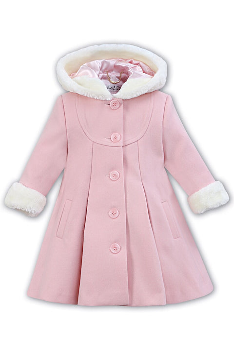 Pink Traditional Hooded Fur Trim Coat