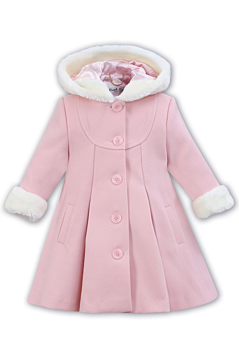 ad3fe4d7aee4 Sarah Louise Pink Traditional Hooded Fur Trim Coat – Jacob Matthews