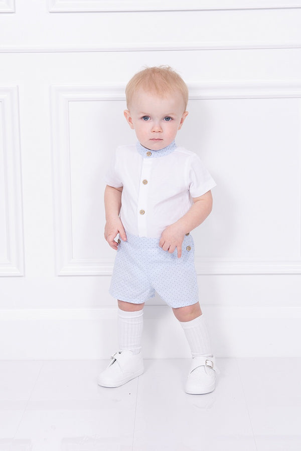 Babidu White And Blue Spotted Outfit