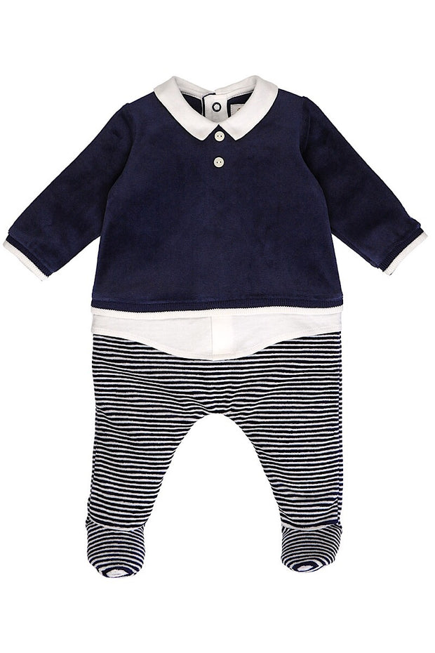 Navy Velour Stripe All In One