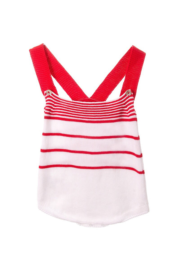 Foque Red And White Knitted Braced Romper