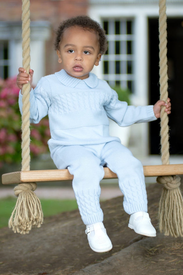 Blue Cable Knitted Jumper And Pants