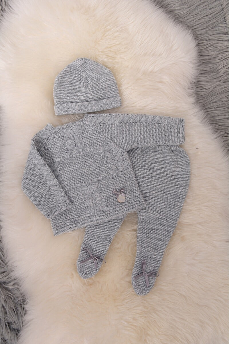 Grey Knitted Cable Bow Top And Pants With Hat