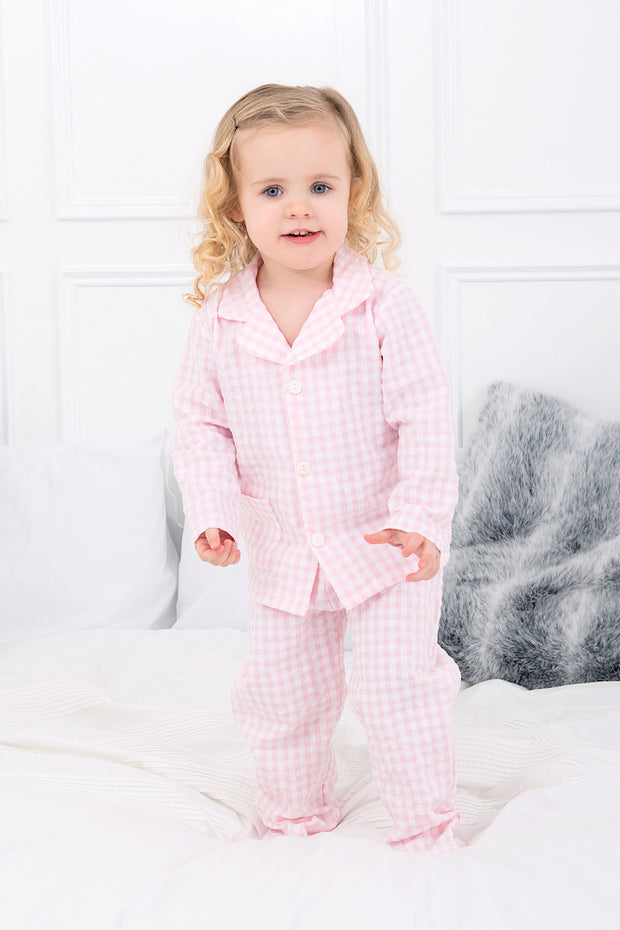 Pink Check Button Pyjamas
