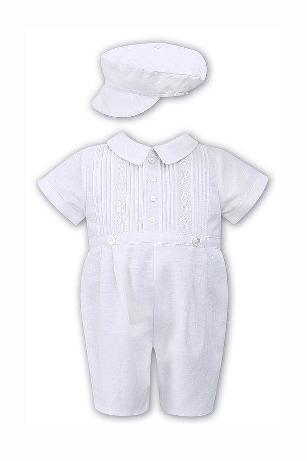 Sarah Louise White Pleat Hand Embroidered Romper And Hat